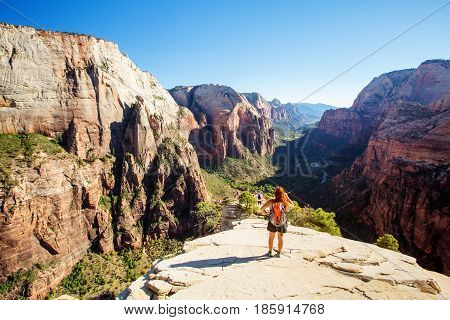 View from Angels Landing in Zion National Park Utah USA