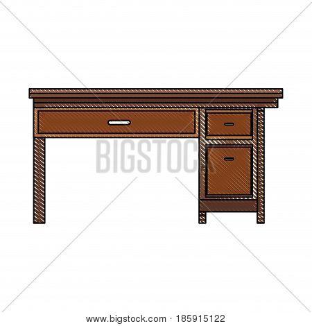 drawing office desk wooden drawer handle furniture vector illustration