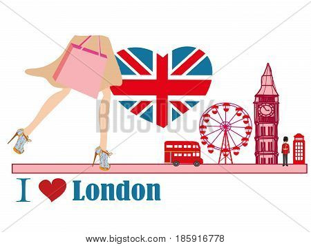 woman shopping in London card , vector illustration
