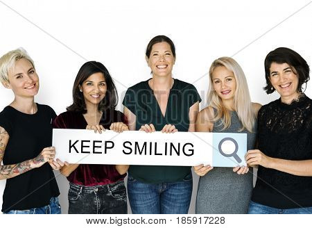 Group of women holding banner network graphic overlay