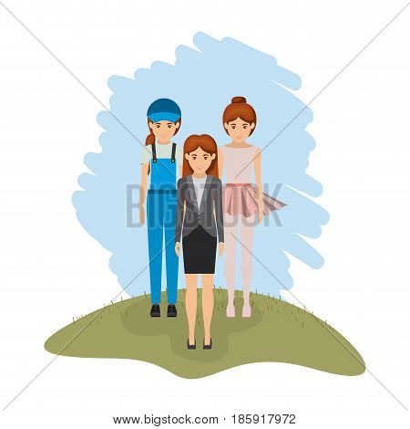 color landscape with business woman and female dancer and dispatcher vector illustration