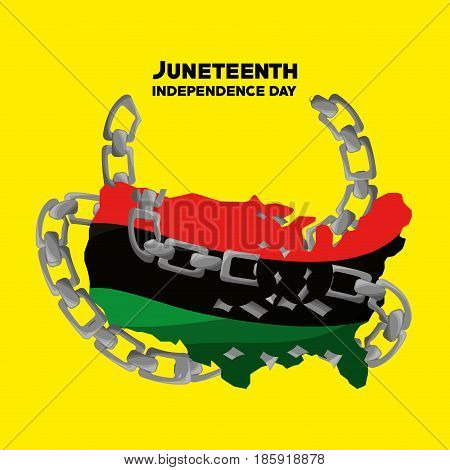 independence day flag with chain to juneteenth, vector illustration