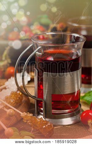 Rose Hips Herbal Hot Tea. Selective focus.