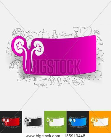 hand drawn simple elements with kidneys paper sticker shadow