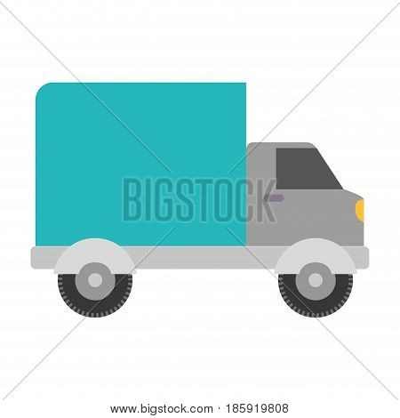 white background with truck with wagon vector illustration