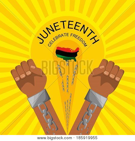 hands with chain to celebration freedom juneteenth, vector illustration