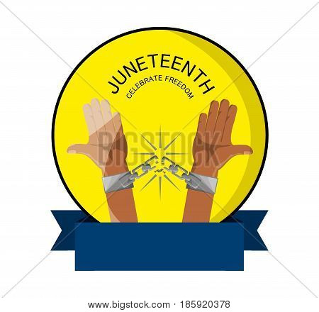 emblem of hands with chain and ribbon to celebrate freedom, vector illustration