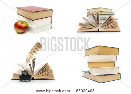 Books isolated on white background. Horizontal photo.