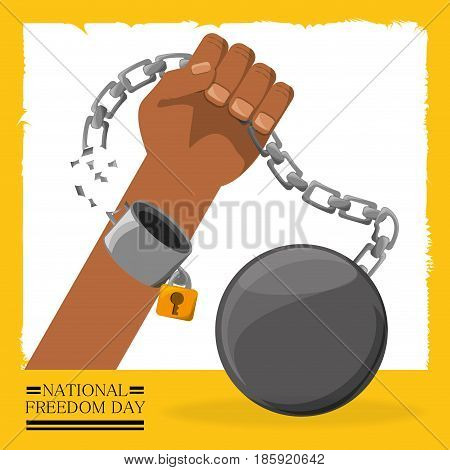 chain with padlock in the hand to celebrate freedom, vector illustration
