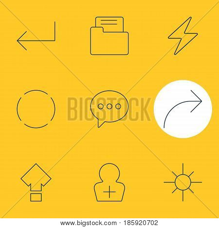 Vector Illustration Of 9 User Interface Icons. Editable Pack Of Share, Sunshine, Repeat And Other Elements.