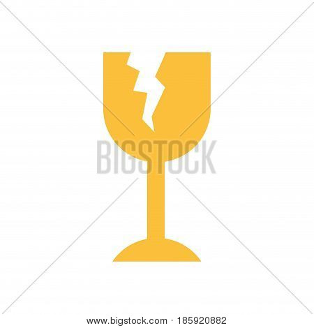 white background with fragile packaging symbol broken wine glass vector illustration