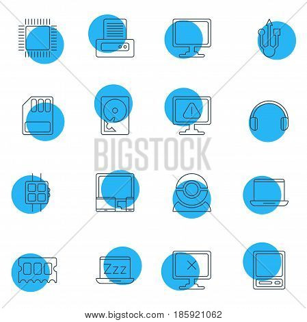 Vector Illustration Of 16 Notebook Icons. Editable Pack Of Notebook, Microprocessor, Screen And Other Elements.
