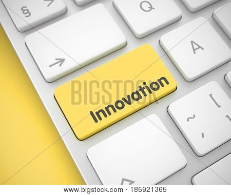 Service Concept: Innovation on Modern Computer Keyboard lying on Yellow Background. Slim Aluminum Keyboard Key Showing the Message Innovation. Message on Keyboard Yellow Keypad. 3D Illustration.