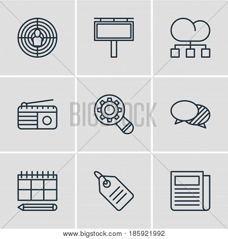 Vector Illustration Of 9 Ad Icons. Editable Pack Of Aiming, Analysis, Schedule And Other Elements.