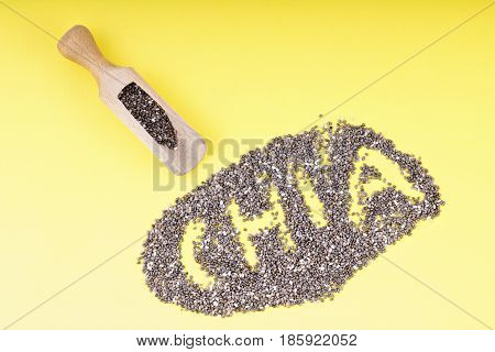Chia seeds. Chia word made from chia seeds