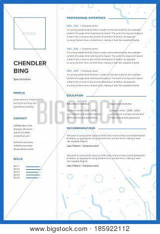 CV template. Minimalist resume, web page, job application skills presentation