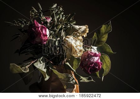 Bouquet Of Dried Red And White Roses, Closeup