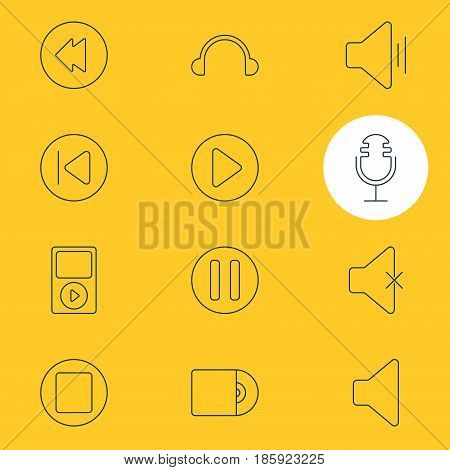 Vector Illustration Of 12 Music Icons. Editable Pack Of Speaker, Lag, Mp3 And Other Elements.