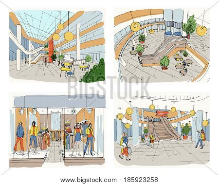 Set of modern interior shopping center, Collection various space mall. Colorful sketch illustration.