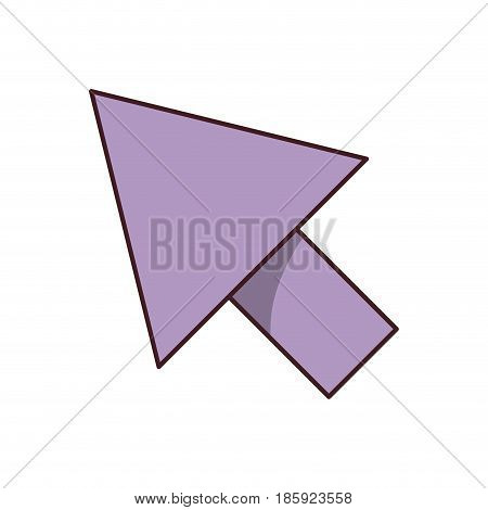 white background with purple arrowhead with black contour vector illustration
