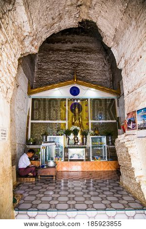 MINGUN,MYANMAR - MARC 6, 2017: Burmese Inside of Pa Hto Taw Gyi pagoda Temple in Mingun on March 6, 2017. Myanmar.