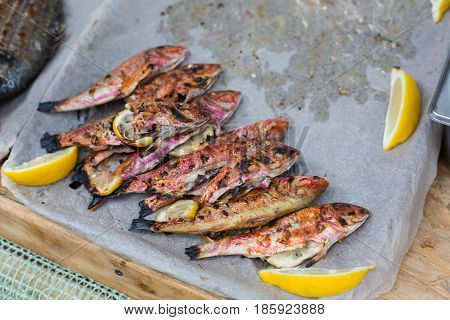 Red mullet grilled at barbecue. Seafood bbq outdoors at picnic, party. Street food vendor makes take away on big tray. Grill crispy roasted fish with lemon