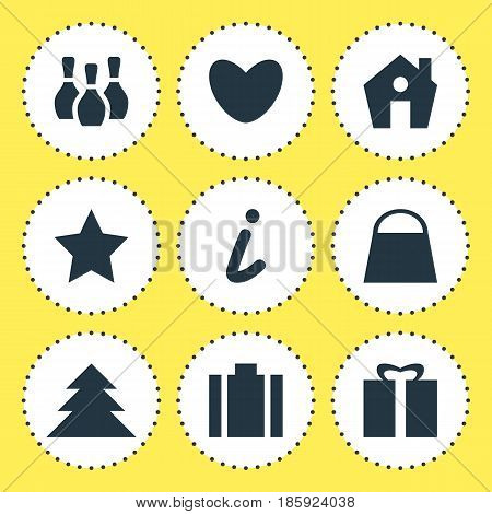 Vector Illustration Of 9 Map Icons. Editable Pack Of Present, Bookmark, Skittles And Other Elements.