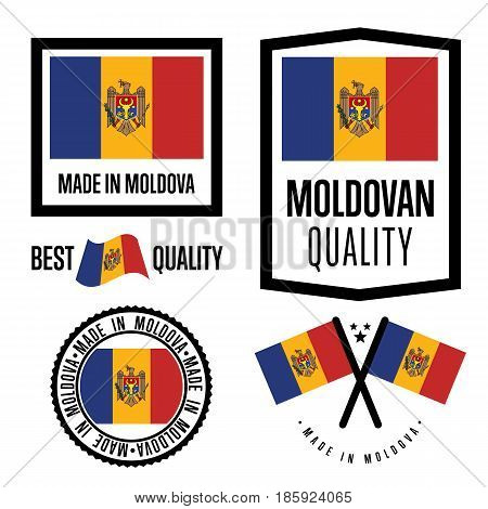 Moldova quality isolated label set for goods. Exporting stamp with moldovan flag, nation manufacturer certificate element, country product vector emblem. Made in Moldova badge collection.