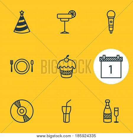 Vector Illustration Of 9 Feast Icons. Editable Pack Of Muffin, Compact Disk, Fizz And Other Elements.