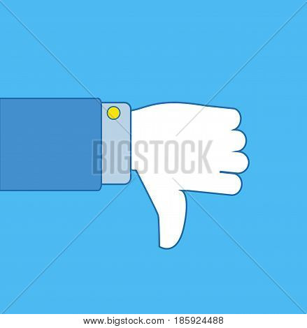 Thumb down vector icon. Dislike symbol. Dislike hand. Vector stock