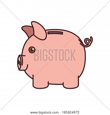 colorful silhouette of moneybox in shape of pig and black contour vector illustration