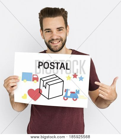 A guy hold logistics concept card