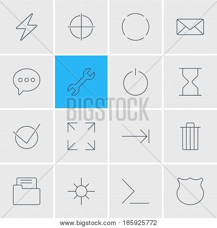 Vector Illustration Of 16 UI Icons. Editable Pack Of Hourglass, Guard, Tabulation Button And Other Elements.