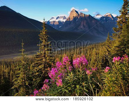 Beautiful Landscape With Rocky Mountains At Sunset, Banff National Park, Alberta, Canada