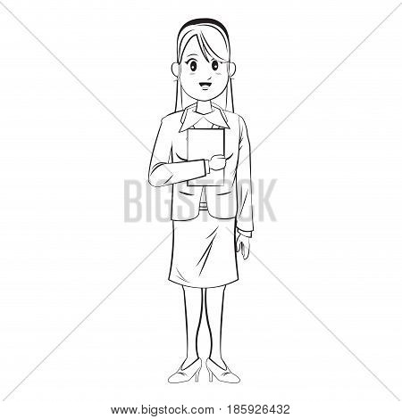 cartoon character businesswoman standing with formal clothes vector illustration