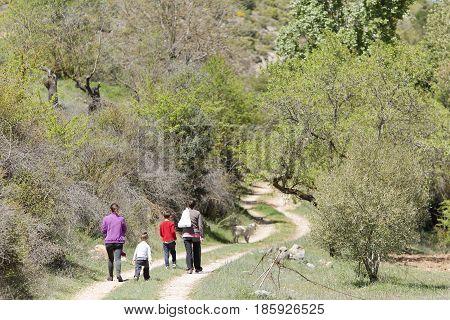Family Hiking In Cañadas De Haches De Arriba.