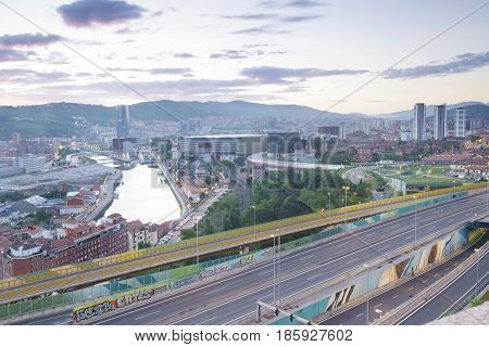 Panoramic view at sunrise of Bilbao city Basque Country Spain.