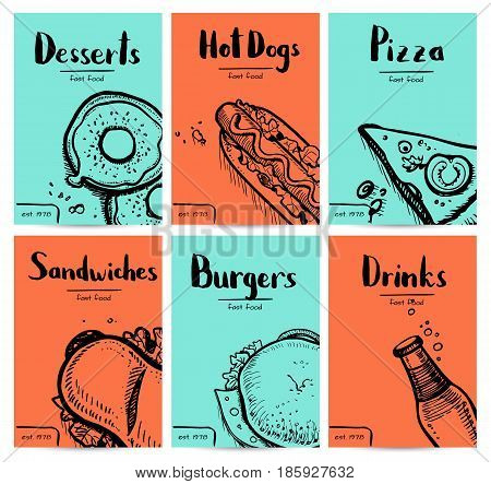Fast food vintage hand drawn graphic design set. Restaurant menu vector illustration with burger, pizza, dessert, drink, hot dog. Cafe price catalog, junk food retro poster with snack linear sketches