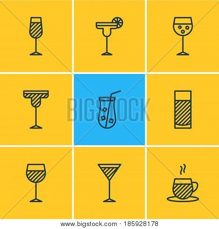Vector Illustration Of 9 Drinks Icons. Editable Pack Of Goblet, Tea Cup, Martini And Other Elements.