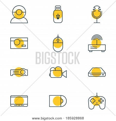 Vector Illustration Of 12 Gadget Icons. Editable Pack Of Joypad, Memory Storage, Floodlight And Other Elements.