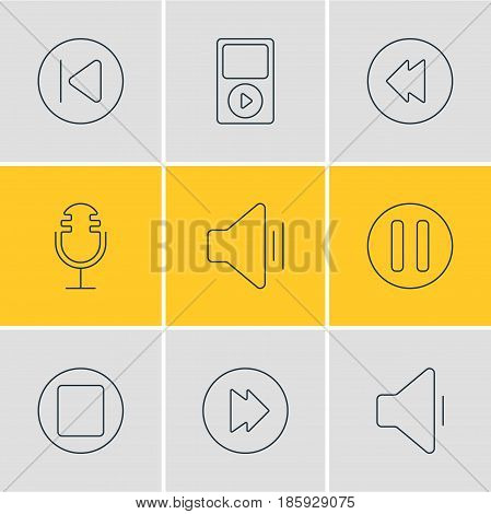 Vector Illustration Of 9 Melody Icons. Editable Pack Of Pause, Advanced, Reversing And Other Elements.
