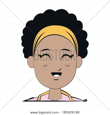 face young afro girl smiling expression vector illustration
