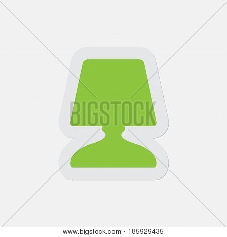 simple green icon with light gray contour and shadow - bedside table lamp on a white background
