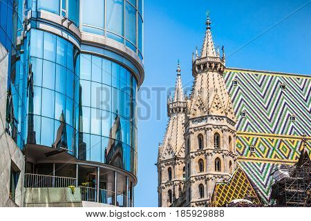 Haas Haus With St. Stephen's Cathedral At Stephansplatz In Vienna, Austria