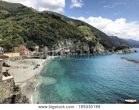 Monterosso al Mare, a beautiful coastal town in the province of Le Spezia. It is one of the five fishing villages in Cinque Terre, Italy.