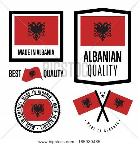 Albania quality isolated label set for goods. Exporting stamp with albanian flag, nation manufacturer certificate element, country product vector emblem. Made in Albania badge collection.