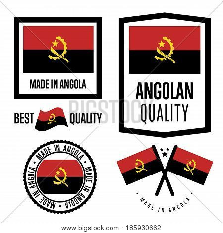 Angola quality isolated label set for goods. Exporting stamp with angolan flag, nation manufacturer certificate element, country product vector emblem. Made in Angola badge collection.