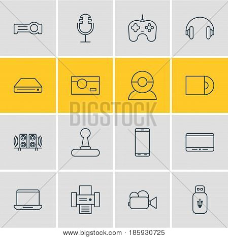 Vector Illustration Of 16 Device Icons. Editable Pack Of Floodlight, Game Controller, Joypad And Other Elements.