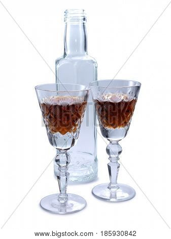 Vintage glass for wine on white background