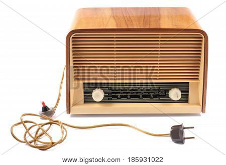 Old Radio with 60 years of last century on a white background